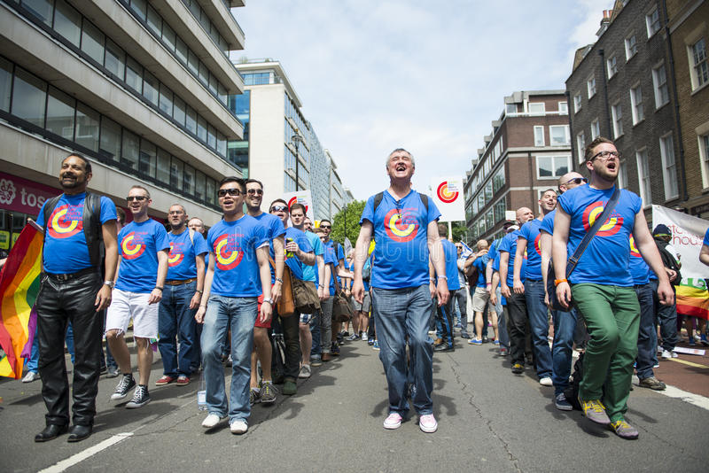 LONDON, UK - JUNE 29: London Gay Men's Chorus at the Gay Pride P. Arade in Baker Street. June 29, 2013 in London stock image