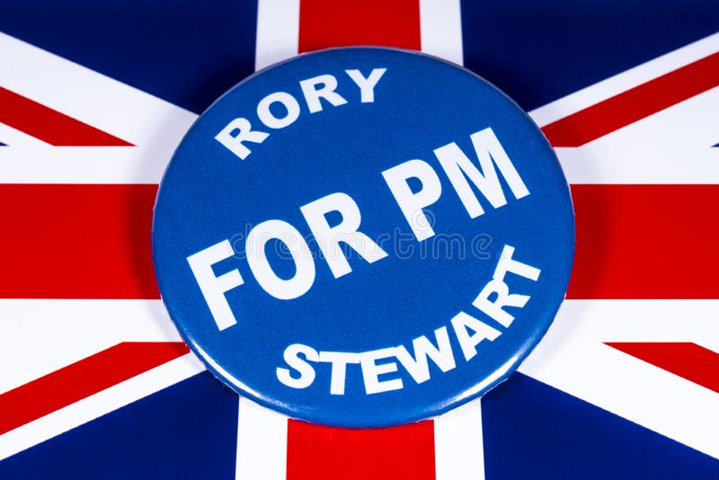 Rory Stewart for Prime Minister. London, UK - June 11th 2019: A badge with Rory Stewart for Prime Minister, pictured over the flag of the UK.  Rory Stewart is stock photo