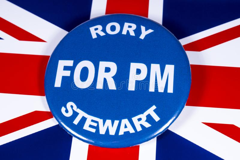 Rory Stewart for Prime Minister. London, UK - June 11th 2019: A badge with Rory Stewart for Prime Minister, pictured over the flag of the UK.  Rory Stewart is stock photos