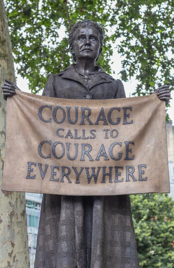 London / UK - June 18th 2019 - Statue of Millicent Fawcett in Parliament Square,. `Courage Calls to Courage Everywhere stock photo