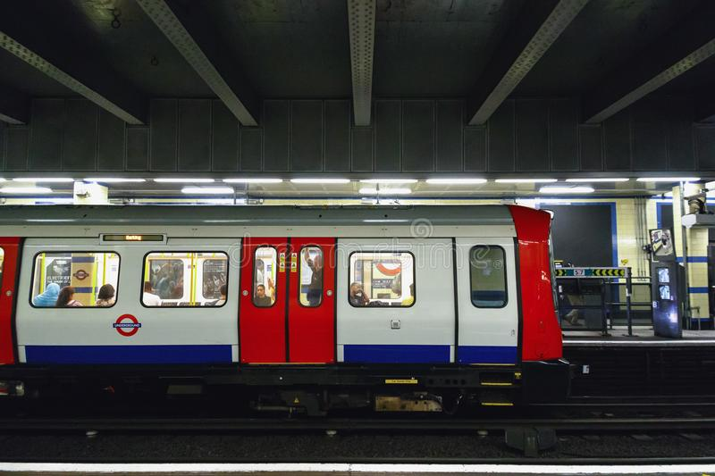 Trains about to depart from Aldgate East tube station. London, UK - June 21, 2017 - Trains about to depart from Aldgate East tube station royalty free stock photography