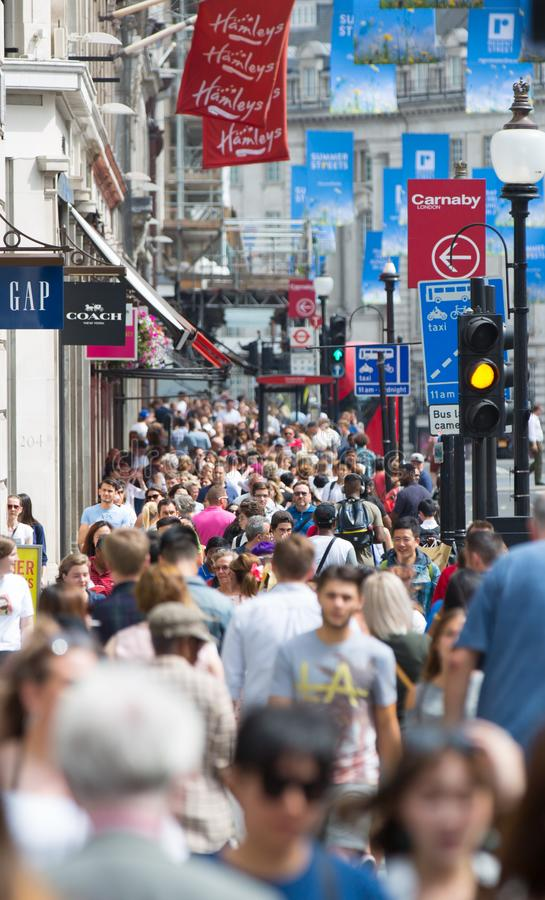 London, UK. Lots of walking people, tourist and Londoners on the Piccadilly street stock photo