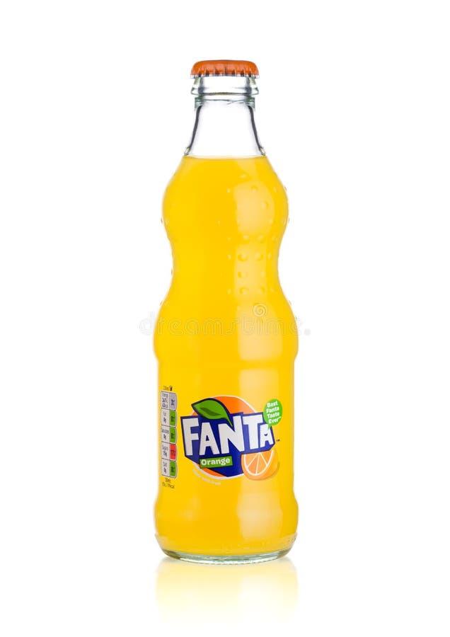 Free LONDON, UK - MARCH 01, 2018: Glass Bottle Of Fanta Orange Soft Drink On White Stock Image - 111275681