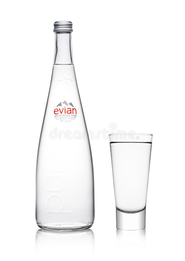 Free LONDON, UK - MARCH 01, 2018: Glass Bottle Of Pure Evian Natural Mineral Water On A White. Made In France. Stock Images - 111275674