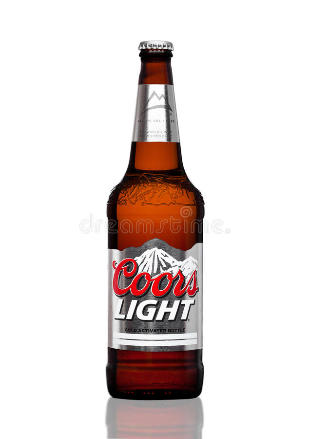 LONDON,UK - MARCH 30, 2017 : Bottle of Coors Light beer on white. Coors operates a brewery in Golden, Colorado, that is the larges. LONDON,UK - MARCH 30, 2017 royalty free stock images