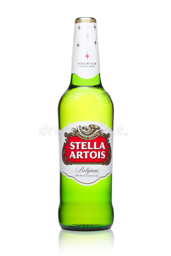 LONDON, UK -MARCH 22, 2018: Cold Bottle of Stella Artois beer on white, prominent brand of Anheuser-Busch InBev, is a pilsner brew. LONDON, UK -MARCH 22, 2018 royalty free stock images