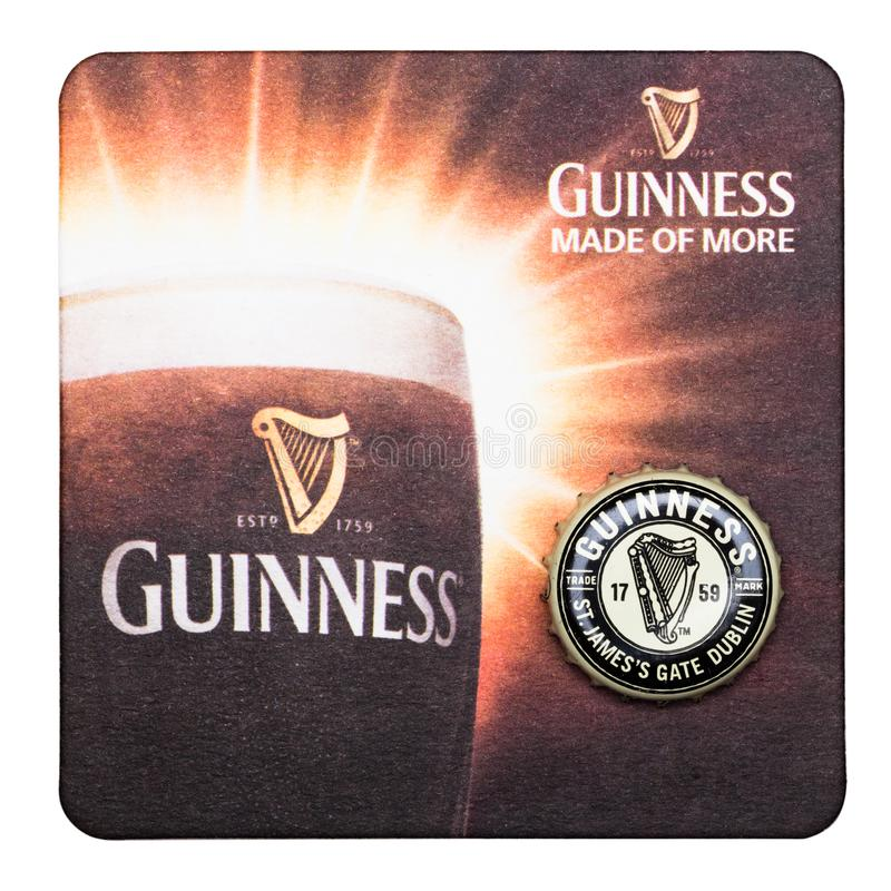 Download LONDON, UK - MARCH 01, 2018: Guinness Draught Beer Original Beermat Coaster Isolated On White. Editorial Stock Image - Image of craft, details: 111275354