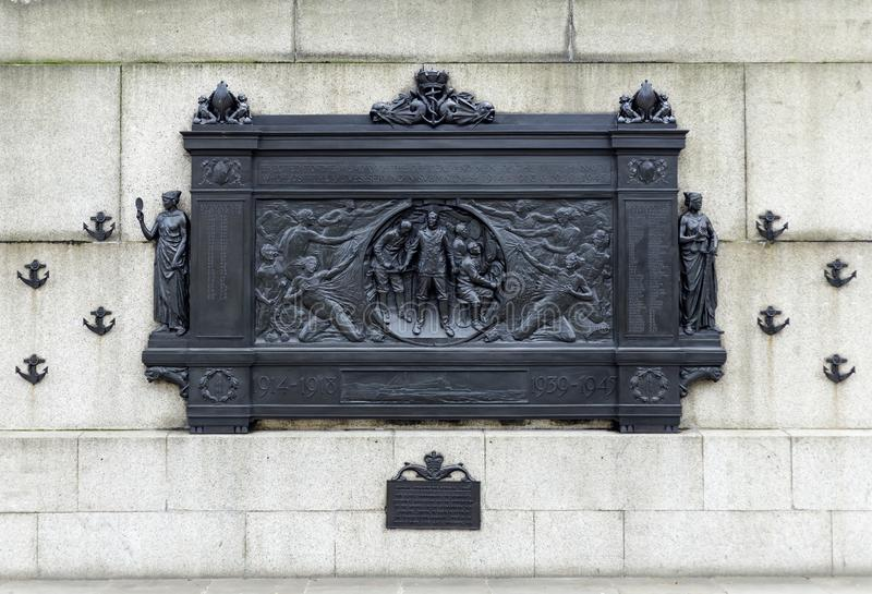 National Submariner`s War Memorial on Thames Embankment in London on March 11, 2019 royalty free stock images