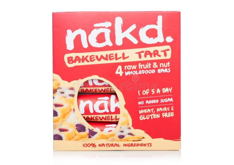 LONDON, UK - MARCH 01, 2019: Pack of NAKD Raw Fruit and Nut Wholefood Bars with Bakewell Tart on white background stock photos