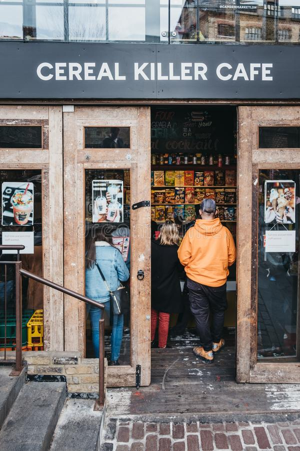 People entering Cereal Killer cafe in Camden, London, UK royalty free stock photos