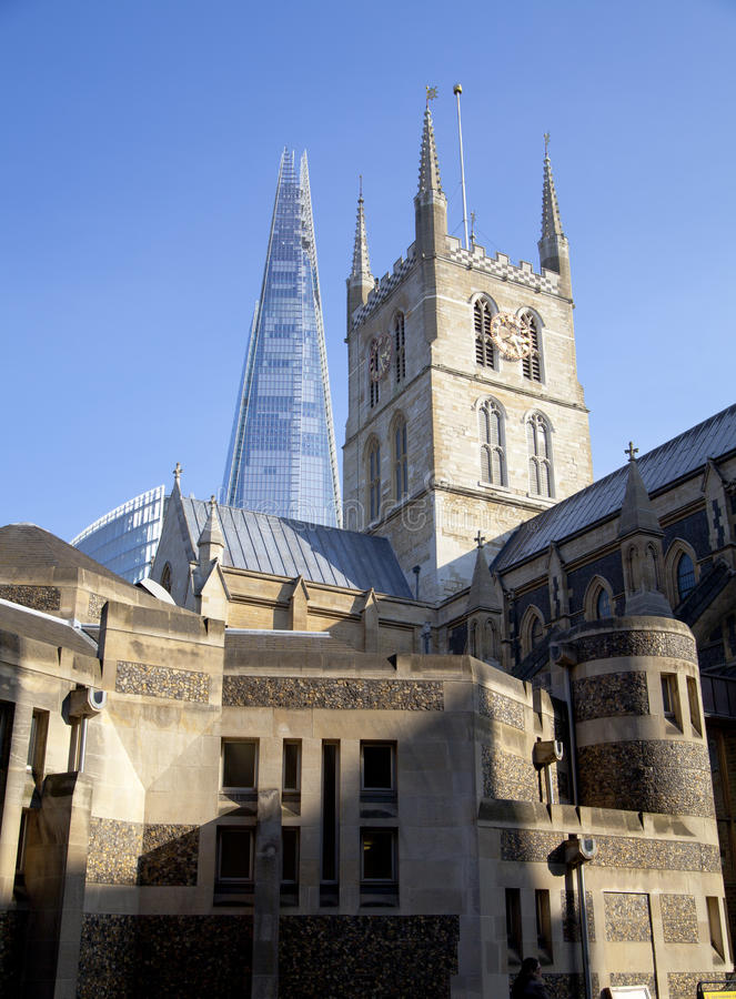 LONDON, UK - MARCH 29, 2014 Southwark Cathedral and Shadr of glass stock image