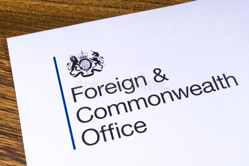 UK Foreign and Commonwealth Office. London, UK - March 12th 2019: Logo of the Foreign and Commonwealth Office, pictured on a piece of paper. The FCO is a stock photo