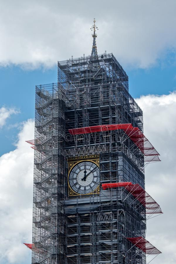 LONDON/UK - MARCH 21 : View of Big Ben Covered in Scaffolding in royalty free stock photography