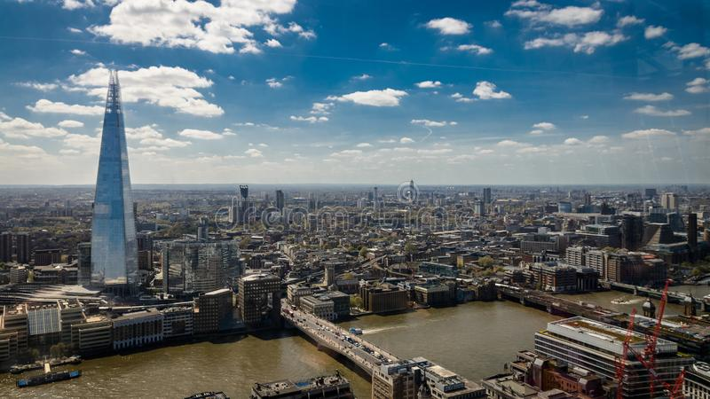 London UK - May 2016. Aerial view of the Shard from the Sky Garden terrace. royalty free stock photos