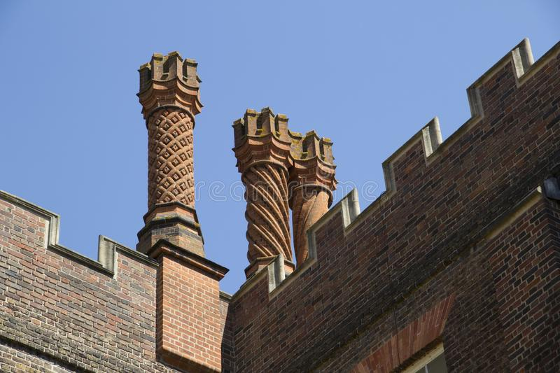 Chimneys of the Hampton Court Palace. London, Uk - May 11, 2018 stock image