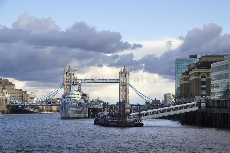 London cityscape across the River Thames with a view of HMS Belfast Warship Museum and Tower Bridge, stock images