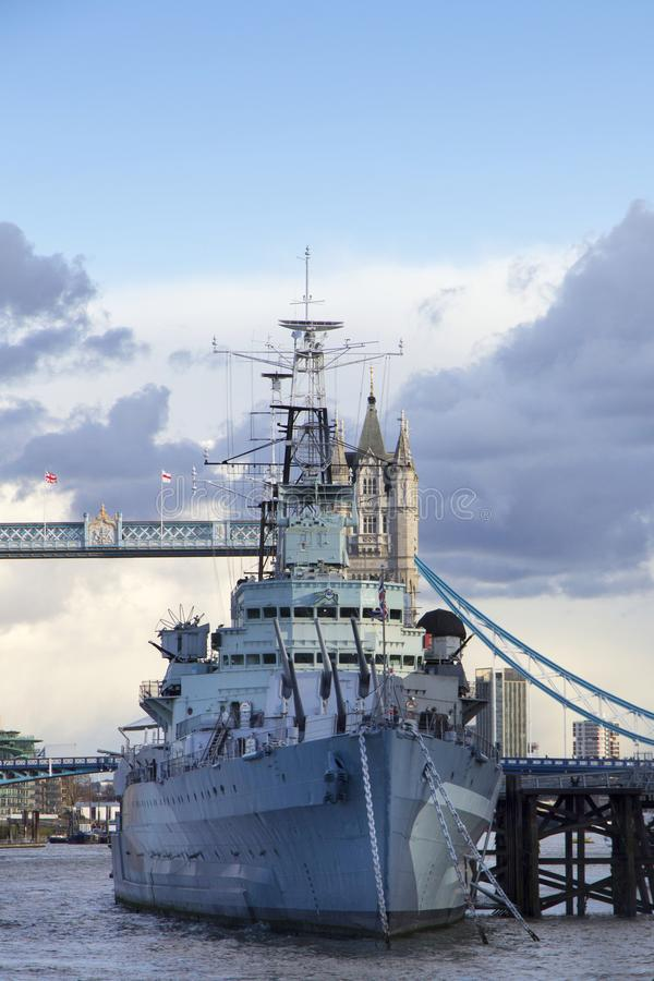 London cityscape across the River Thames with a view of HMS Belfast Warship Museum and Tower Bridge,. LONDON, UK - MAY 20, 2017. London cityscape across the royalty free stock photos