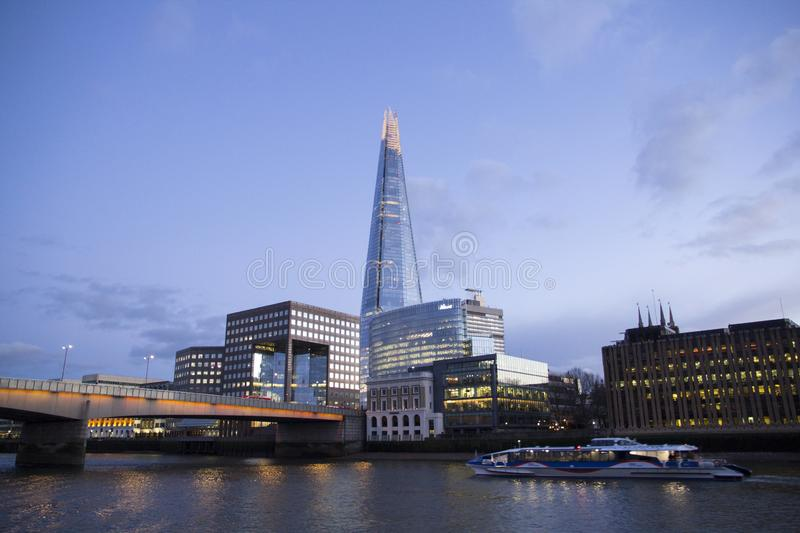 London cityscape across the River Thames with a view of the Shard, London, England, UK, May 20, 2017 royalty free stock images
