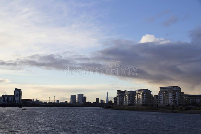 London cityscape across the River Thames with a view of the Shard, London, England, UK, May 20, 2017. LONDON, UK - MAY 20, 2017. London cityscape across the stock photo