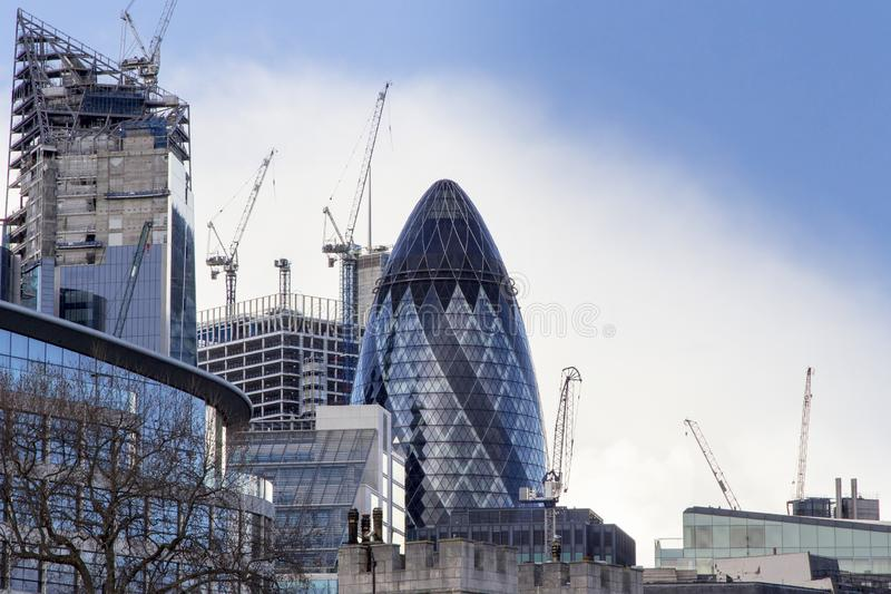 London cityscape across the River Thames with a view of 30 St Mary Axe aka The Gherkin, London, England royalty free stock photography