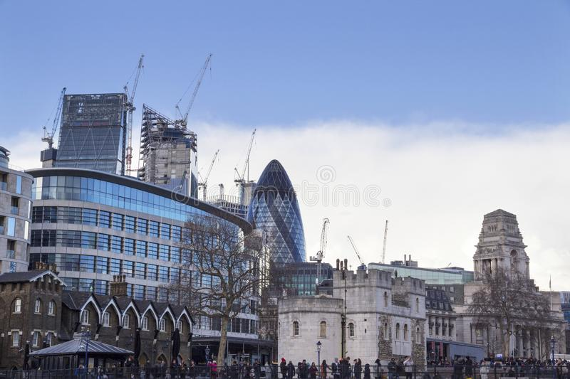 London cityscape across the River Thames with a view of 30 St Mary Axe aka The Gherkin, London, England stock photography