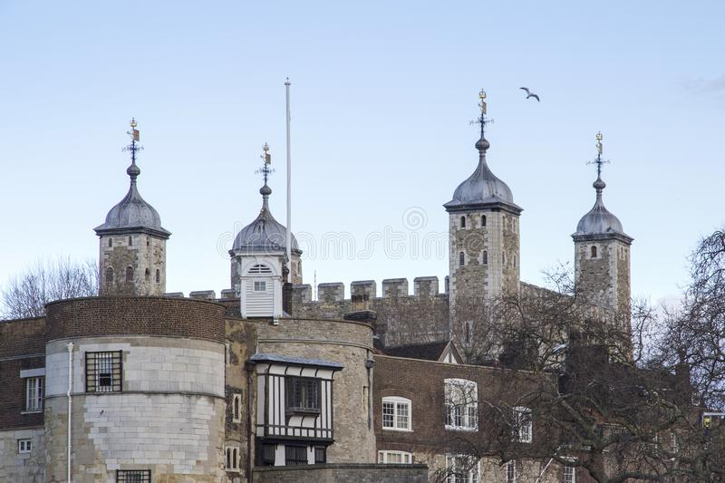 London cityscape across the River Thames with a view of the Tower of London, London, England, UK, May stock photo
