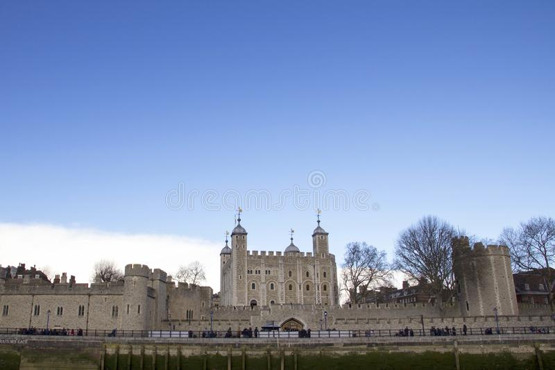 London cityscape across the River Thames with a view of the Tower of London, London, England, UK, May royalty free stock photography