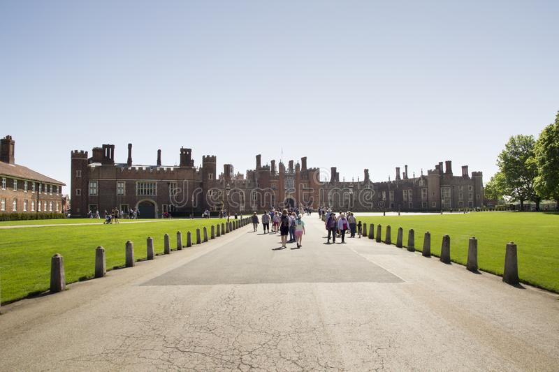 Hampton Court Palace which was originally built for Cardinal Thomas Wolsey 1515, later became King. LONDON, UK - May 11, 2018. Hampton Court Palace which was royalty free stock photos