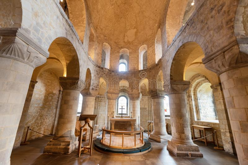 London, UK - May 12 2019: Romanesque Chapel of St John the Evangelist inside the White Tower building at the Tower of royalty free stock image