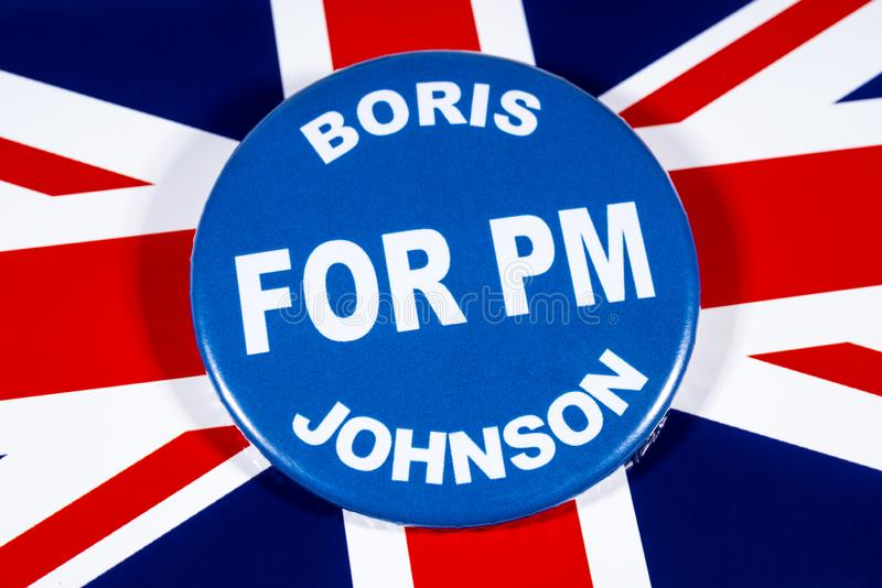 Boris Johnson for Prime Minister. London, UK - May 29th 2019: A badge with Boris Johnson for Prime Minister, pictured over the flag of the United Kingdom. Boris stock image