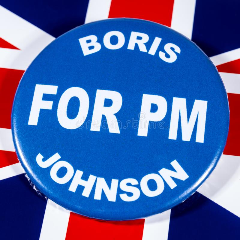 Boris Johnson for Prime Minister. London, UK - May 29th 2019: A badge with Boris Johnson for Prime Minister, pictured over the flag of the United Kingdom. Boris stock photos