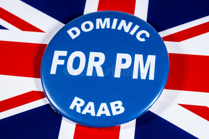 Dominic Raab for Prime Minister. London, UK - May 29th 2019: A badge with Dominic Raab for Prime Minister, pictured over the flag of the United Kingdom.  Dominic royalty free stock photo