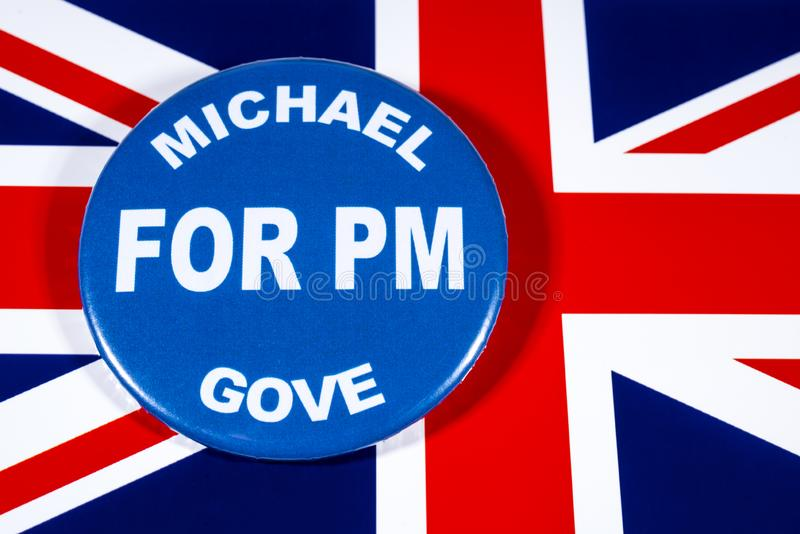 Michael Gove for Prime Minister. London, UK - May 29th 2019: A badge with Michael Gove for Prime Minister, pictured over the flag of the United Kingdom. Michael royalty free stock images