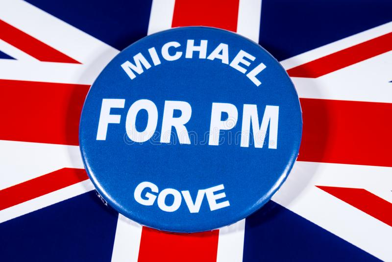 Michael Gove for Prime Minister. London, UK - May 29th 2019: A badge with Michael Gove for Prime Minister, pictured over the flag of the United Kingdom. Michael stock images
