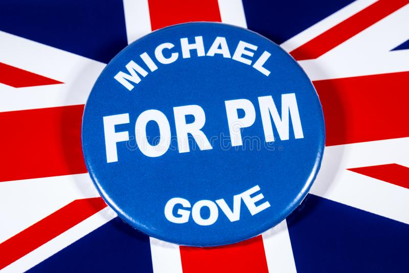 Michael Gove for Prime Minister. London, UK - May 29th 2019: A badge with Michael Gove for Prime Minister, pictured over the flag of the United Kingdom. Michael stock photos