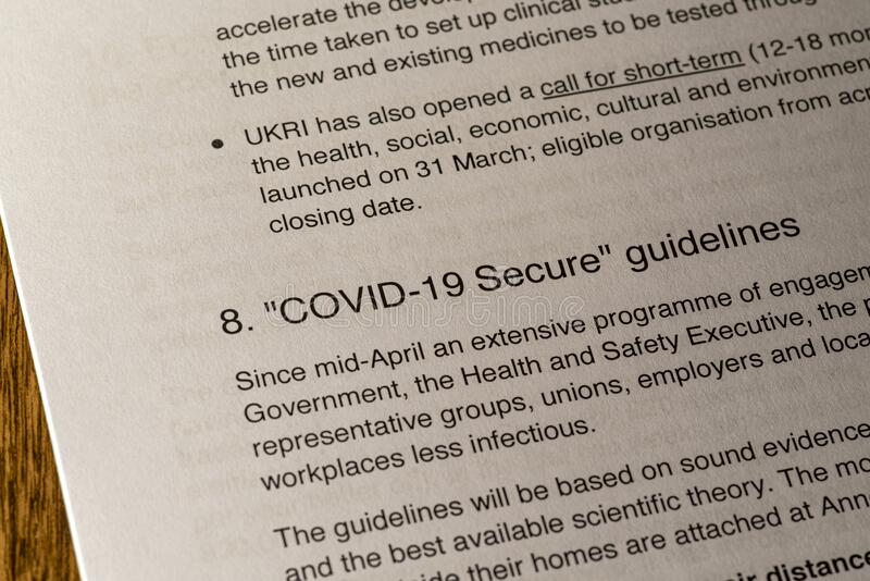 COVID-19 Secure Guidelines royalty free stock photo