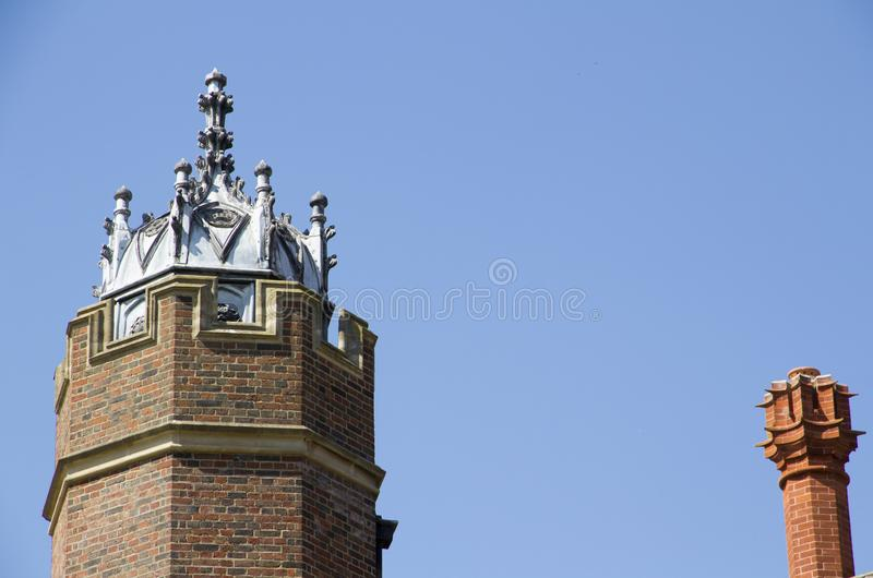 Tower at Hampton Court Palace which was originally built for Cardinal Thomas Wolsey 1515, later became. LONDON, UK - May 11, 2018. Tower at Hampton Court Palace royalty free stock photo
