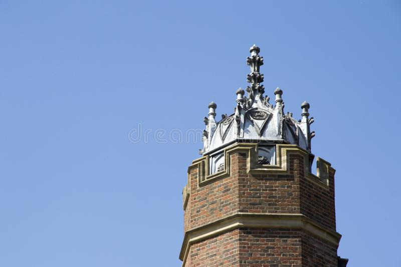 Tower at Hampton Court Palace which was originally built for Cardinal Thomas Wolsey 1515, later became. LONDON, UK - May 11, 2018. Tower at Hampton Court Palace royalty free stock image