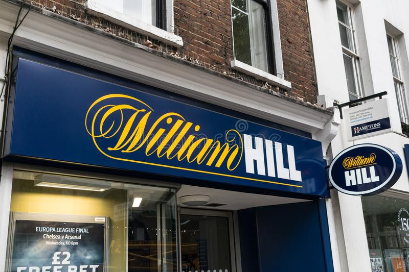 William Hill Bookmaker. London, UK - May 28, 2019: William Hill Bookies on Londons high street stock photography