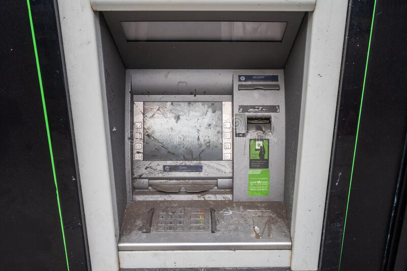 Dirty ATM machine royalty free stock photography