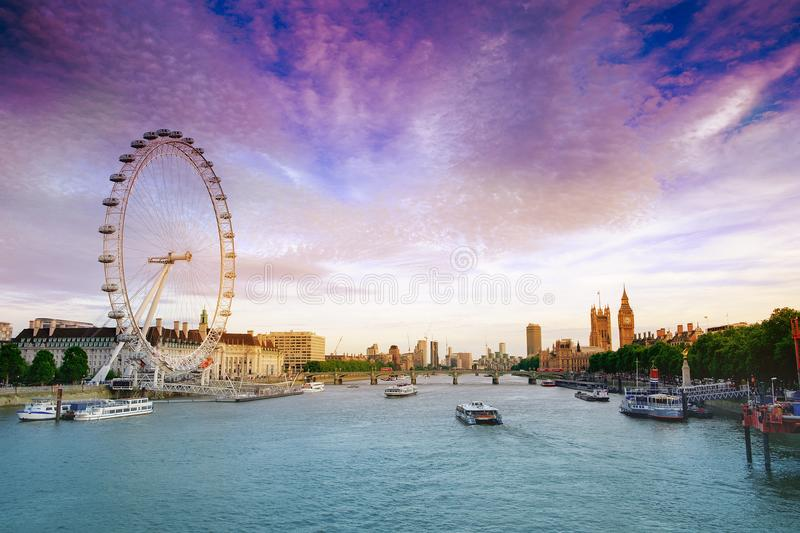 London, UK. 22nd May 2017 London eye and and Houses of Parliament royalty free stock photography