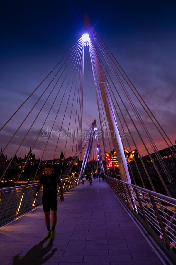 London, UK. 22nd May 2017. Golden Jubilee footbridge at night stock photos