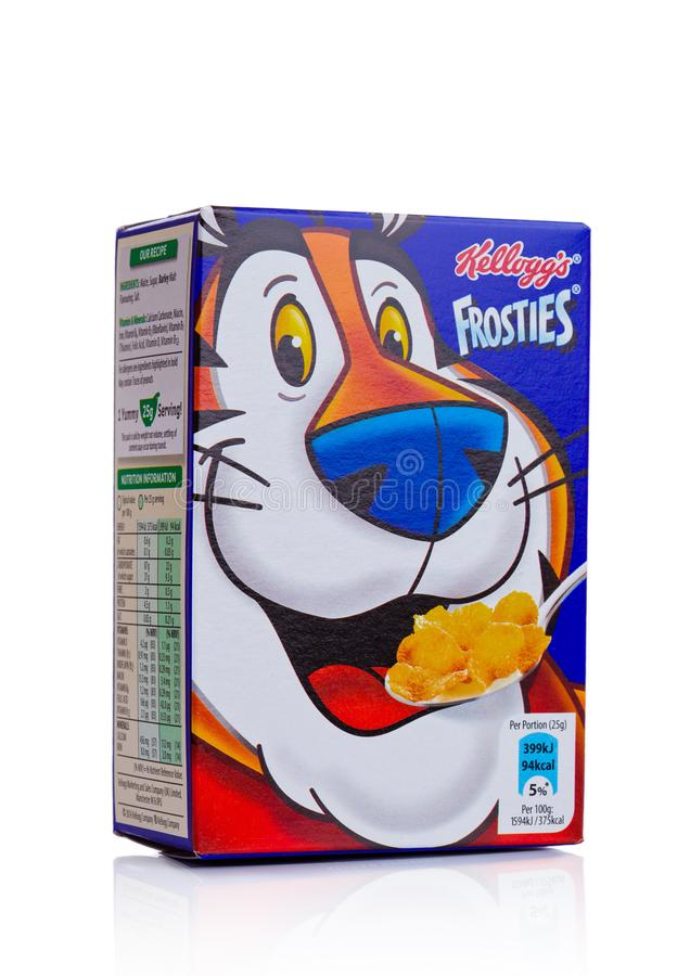 Free LONDON, UK - NOVEMBER 03, 2017: Box Of Kellogg`s Frosties Breakfast Cereal On White Frosties Are A Popular Breakfast Cereal Made Royalty Free Stock Photography - 103191277