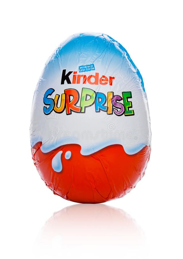 Free LONDON, UK - November 17, 2017: Kinder Chocolate Egg On White.Kinder Bars Are Produced By Ferrero Founded In 1946. Royalty Free Stock Photos - 104211688