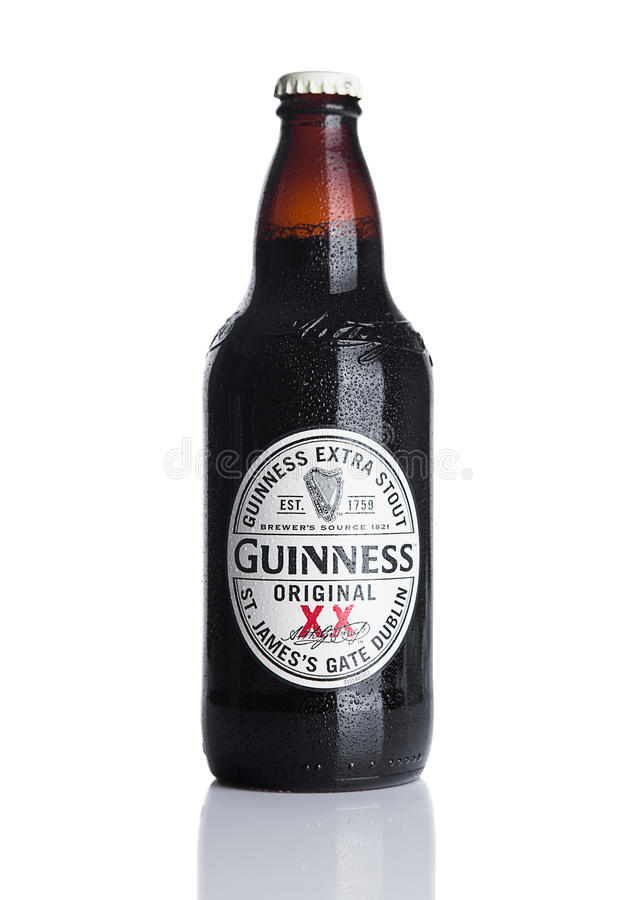 Free LONDON, UK - NOVEMBER 29, 2016: Guinness Extra Stout Beer Bottle On White Background. Guinness Beer Has Been Produced Since 1759 Royalty Free Stock Photos - 81675248