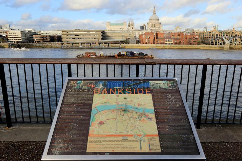 LONDON, UK - NOVEMBER 13, 2018 : Map of Bankside at Southwark with view of Thames River and st paul`s cathedral royalty free stock photo