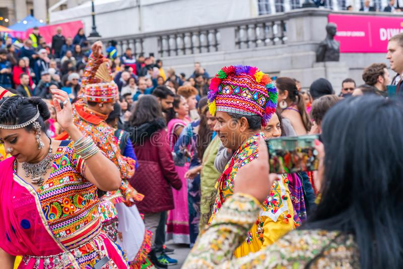 Diwali celebrations in London, UK royalty free stock photo