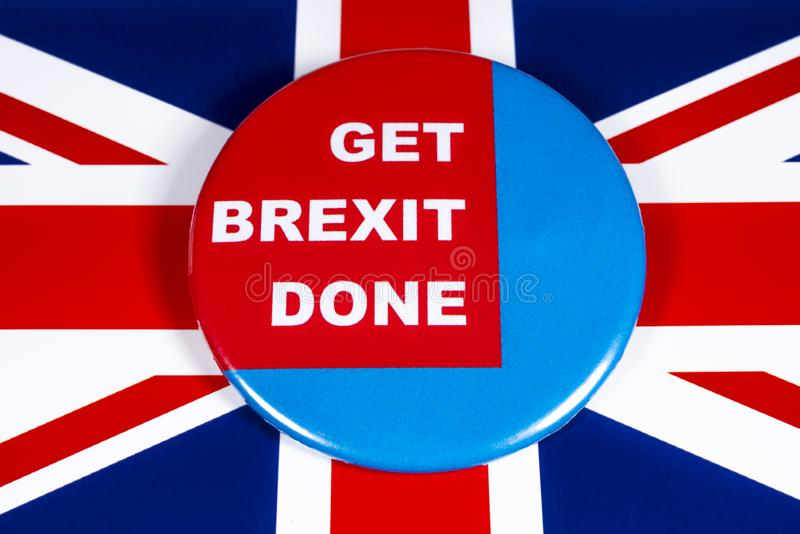 Get Brexit Done. London, UK - November 21st 2019: Get Brexit Done badge, pictured over the United Kingdom flag royalty free stock photo