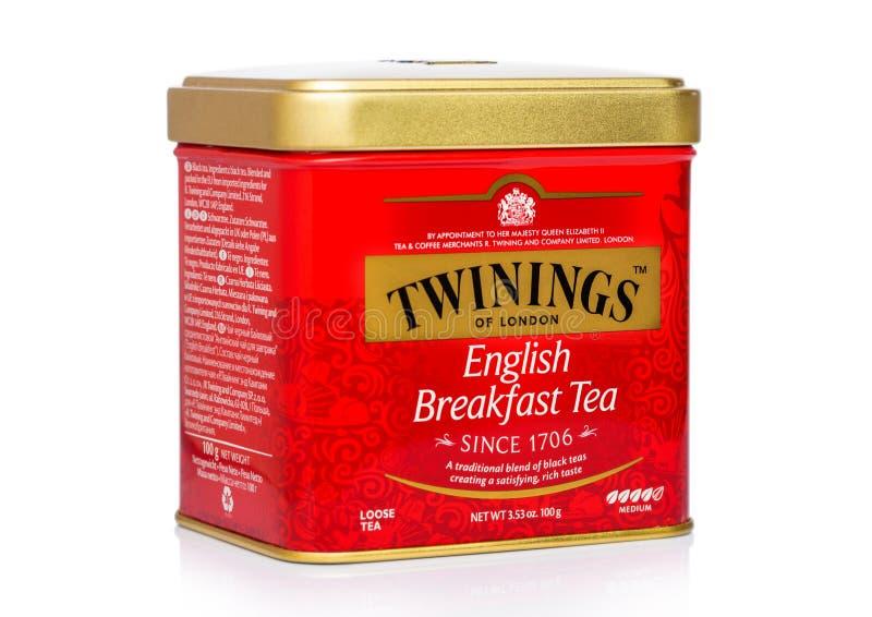 LONDON, UK - NOVEMBER 01, 2018: Steel jar box of Eanglish Breakfast loose tea on white background. stock photos