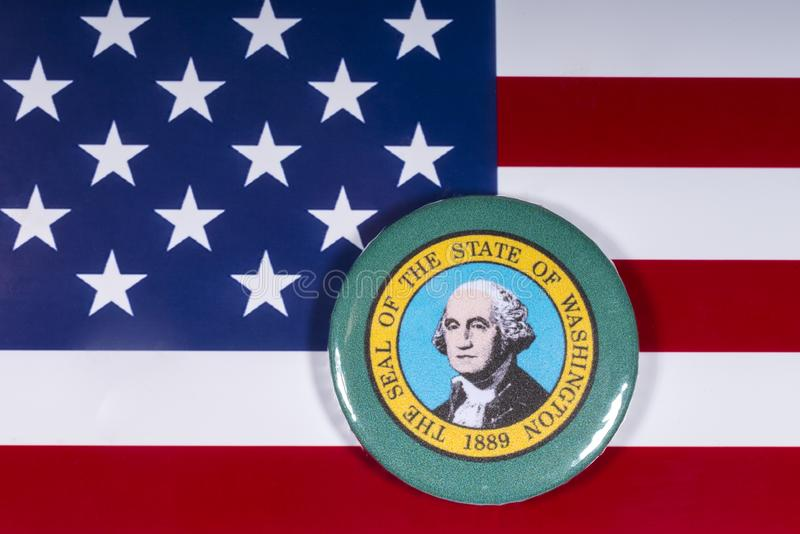 The State of Washington. London, UK - November 15th 2018: A badge portraying the seal of the State of Washington, pictured over the flag of the United States of stock photos